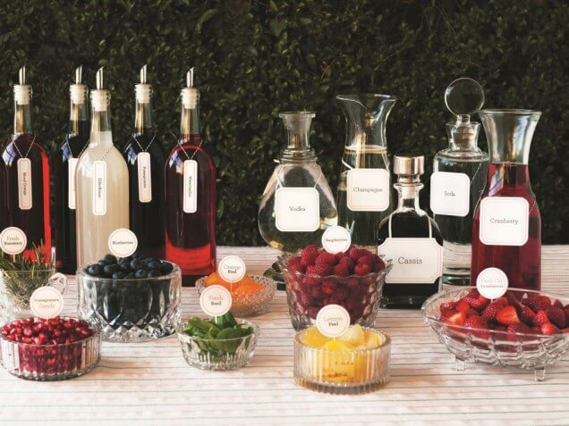 Here's an example of a create-your-own champagne bar, as suggested by Michelle Fishman of Main Event Catering.