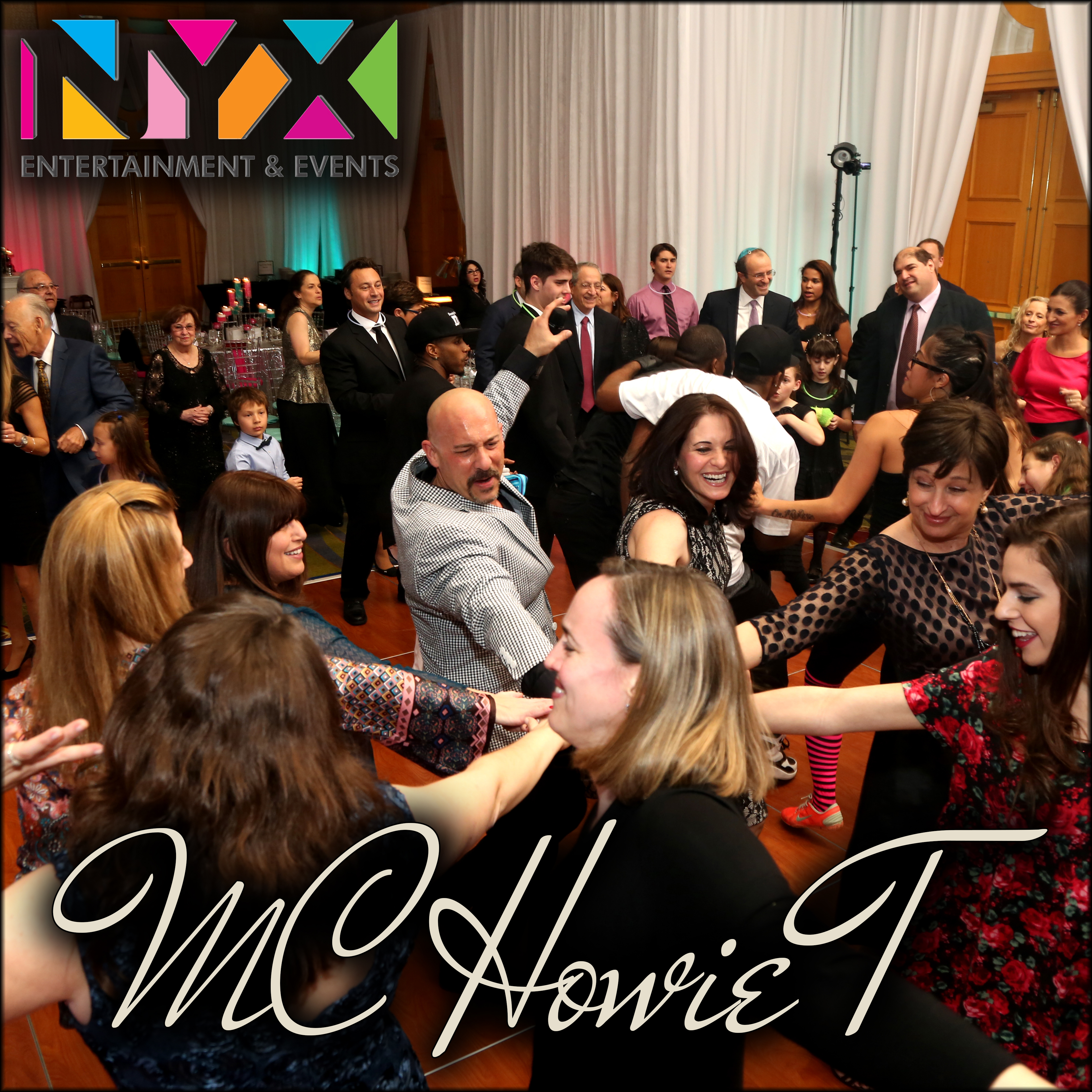 MC Howie T with Adult Mitzvah Guests
