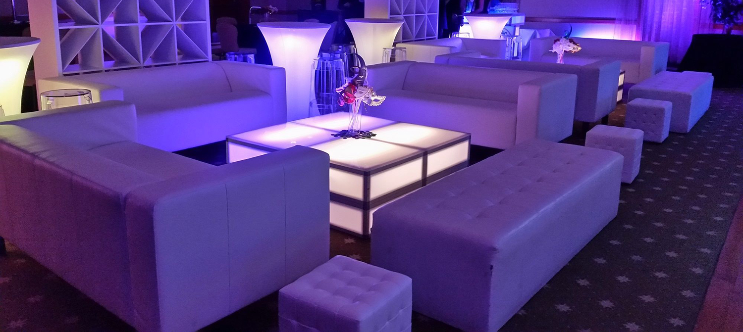 Lounge furniture rental section image, NYX Entertainment & Events.